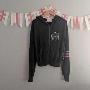 Wildfox Nah Sweatshirt Zipper Hoodie Gray